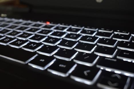 Laptop keyboard lit up